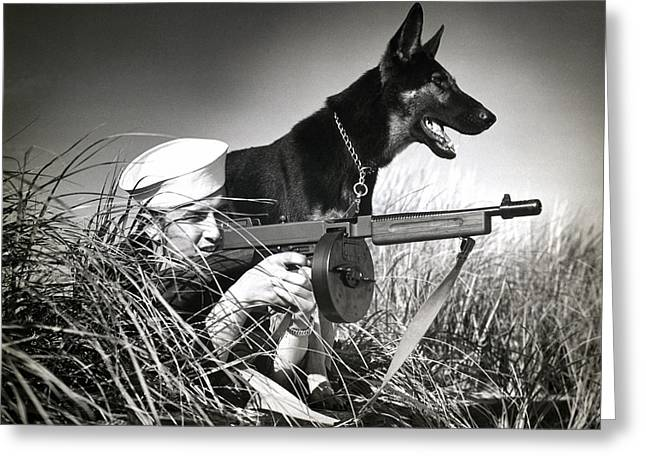 Recently Sold -  - Guard Dog Greeting Cards - WWII US Coast Guard at Work Greeting Card by Historic Image
