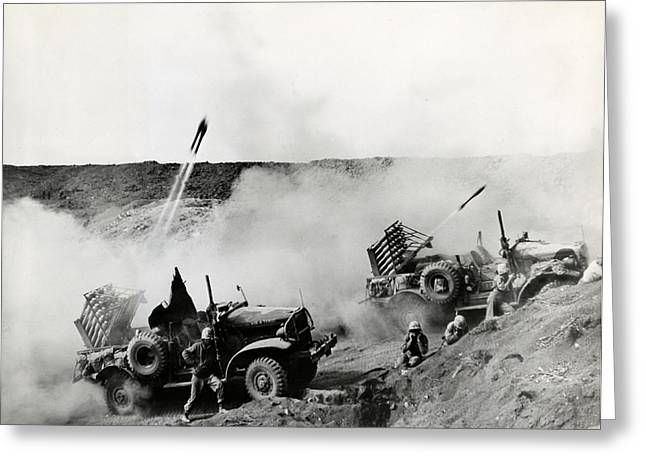 Greatest Generation Greeting Cards - WWII USMC Rockets on Iwo Jima Greeting Card by Historic Image