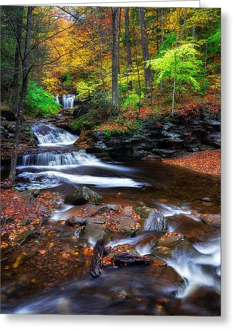 Water Over Rock Greeting Cards - Wyandot Falls Greeting Card by Mark Papke
