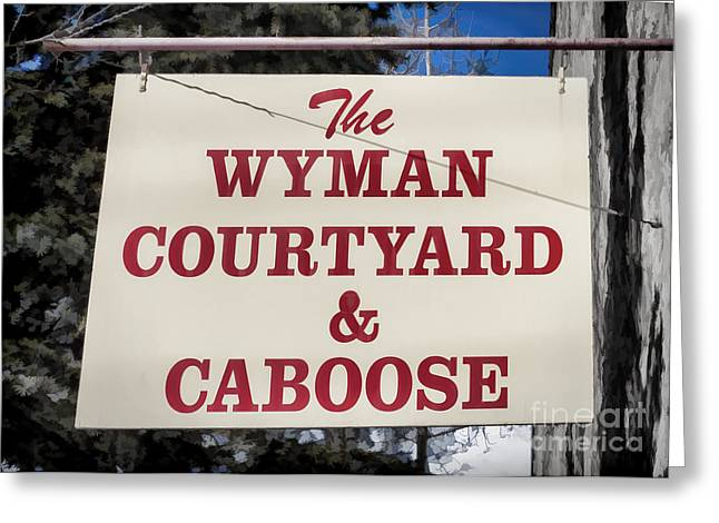 Old Caboose Greeting Cards - Wyman Courtyard and Caboose Greeting Card by Janice Rae Pariza