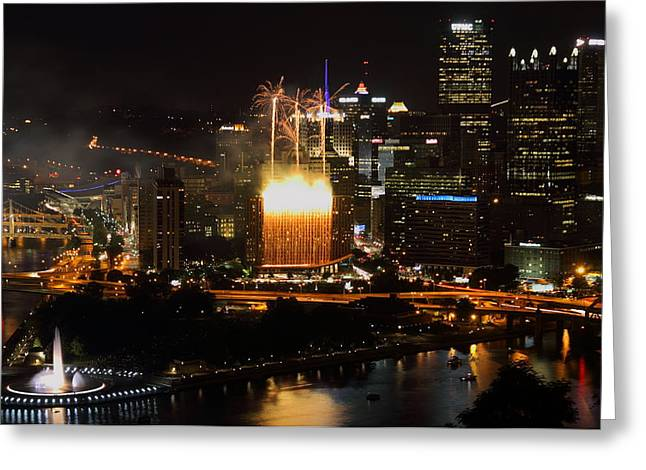 Pittsburgh Skyline.fireworks Greeting Cards - Wyndham Wonder Falls of Light in Pittsburgh Greeting Card by Jetson Nguyen
