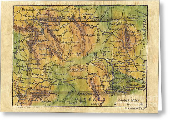 Map Of The Hand Greeting Cards - Wyoming 1906 Greeting Card by Lisa Middleton