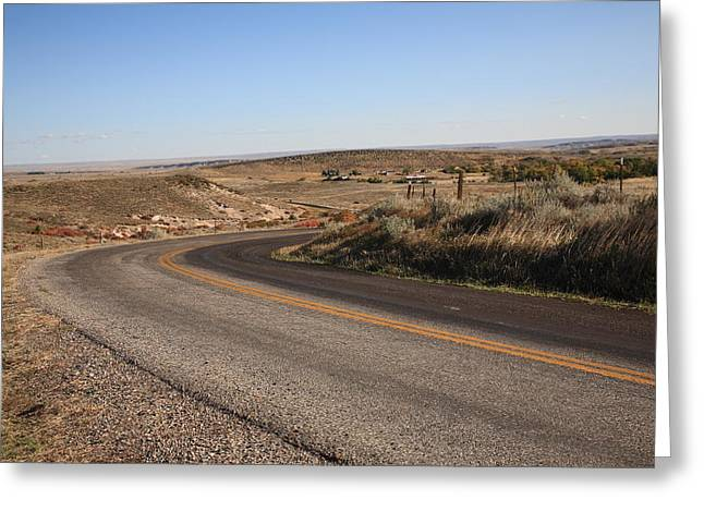 Distance Framed Prints Greeting Cards - Wyoming Back Country Road Greeting Card by Frank Romeo