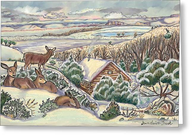 Snow Scene Landscape Pastels Greeting Cards - Wyoming Christmas Greeting Card by Dawn Senior-Trask