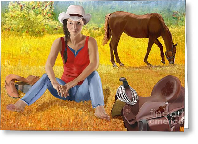 Riding Boots Digital Art Greeting Cards - Wyoming Girl Greeting Card by Sydne Archambault