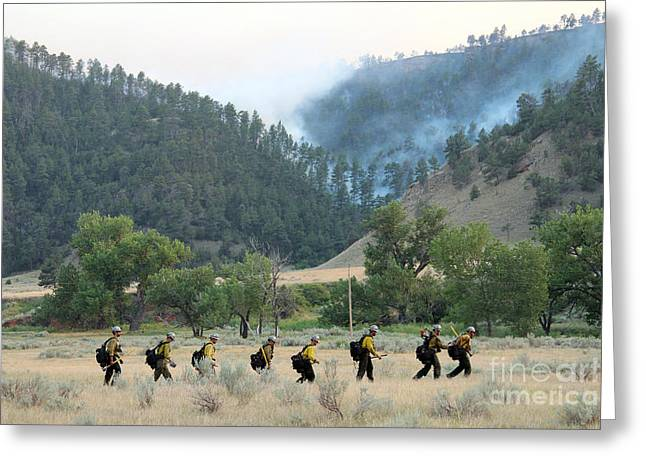 Greeting Card featuring the photograph Wyoming Hot Shots Walk To Their Assignment by Bill Gabbert