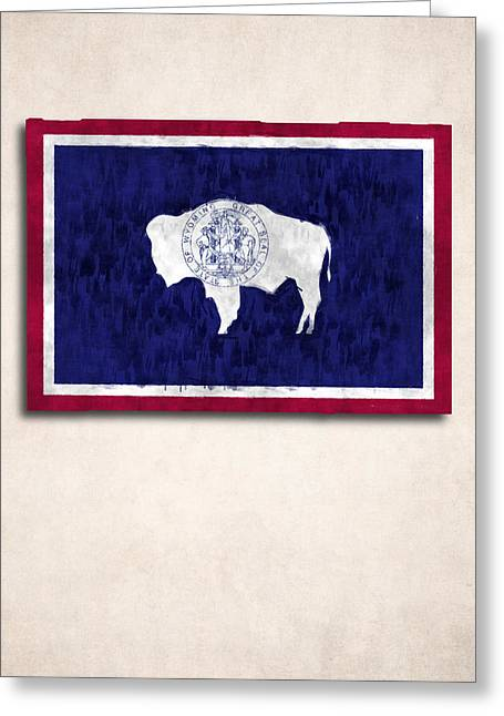 Geographic Digital Art Greeting Cards - Wyoming Map Art with Flag Design Greeting Card by World Art Prints And Designs