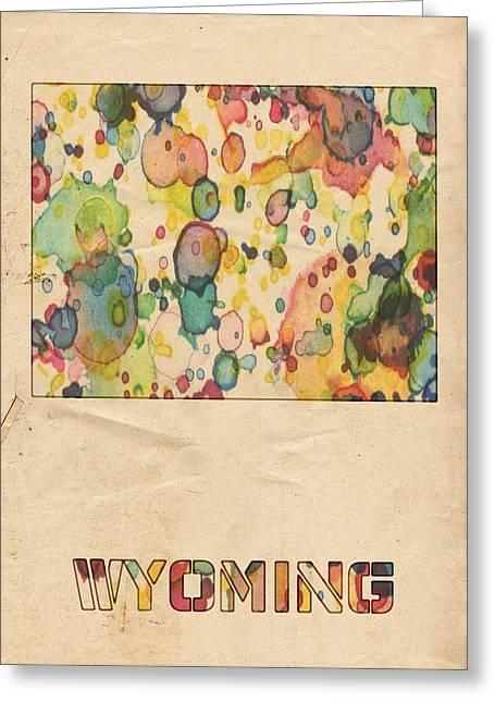 Vintage Map Digital Art Greeting Cards - Wyoming Map Vintage Watercolor Greeting Card by Florian Rodarte