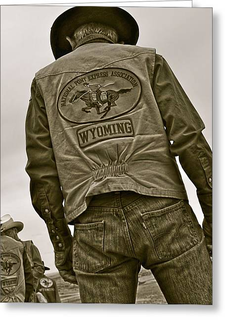 Cowboy Greeting Cards - Wyoming Pony Express Greeting Card by Amanda Smith