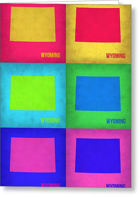 Wyoming Greeting Cards - Wyoming Pop Art Map 1 Greeting Card by Naxart Studio