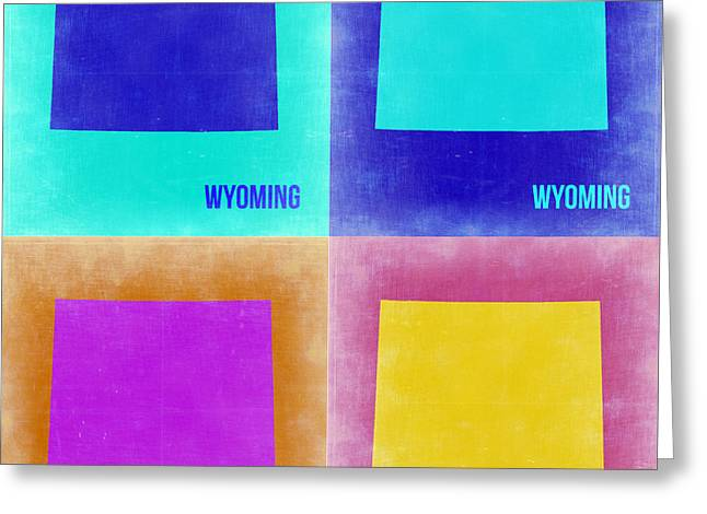 Wyoming Greeting Cards - Wyoming Pop Art Map 2 Greeting Card by Naxart Studio