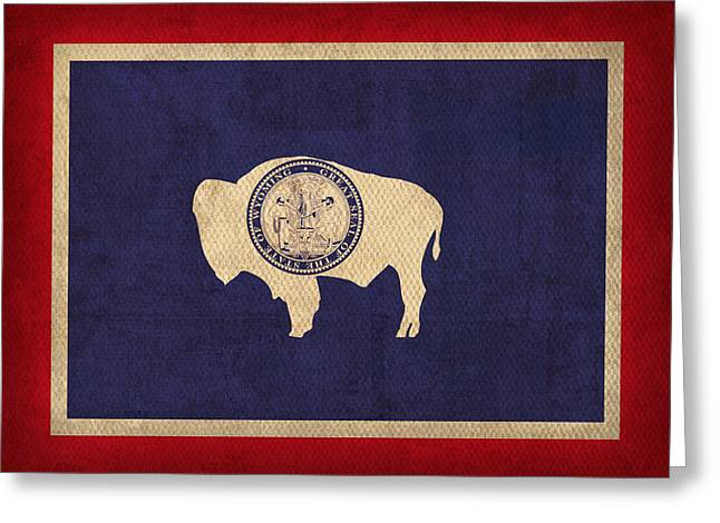 Wyoming Greeting Cards - Wyoming State Flag Art on Worn Canvas Greeting Card by Design Turnpike