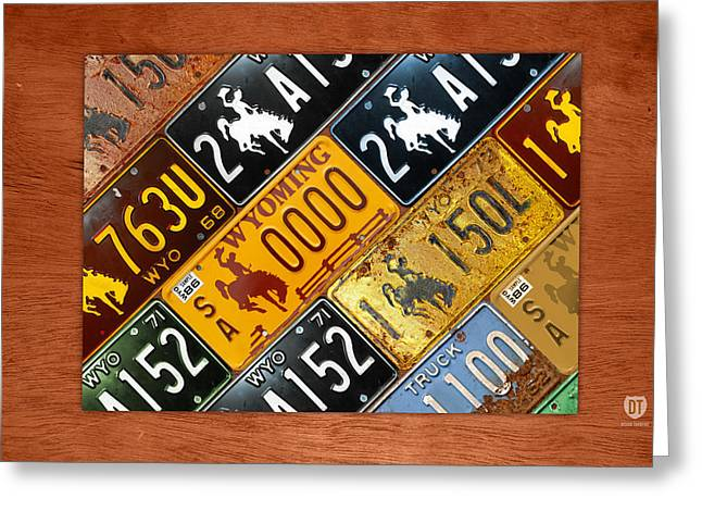 Wyoming State License Plate Map Greeting Card by Design Turnpike