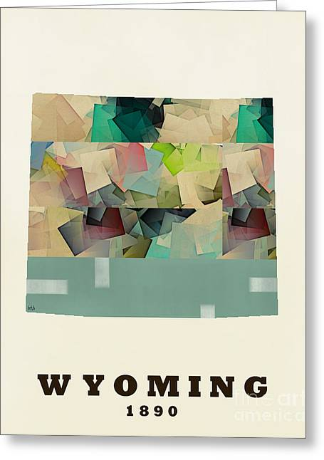 World Map Print Paintings Greeting Cards - Wyoming state map modern Greeting Card by Bri Buckley