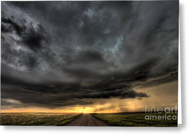 Wheat Field Sky Pictures Greeting Cards - Wyoming sunset  Greeting Card by Jeremy Holmes