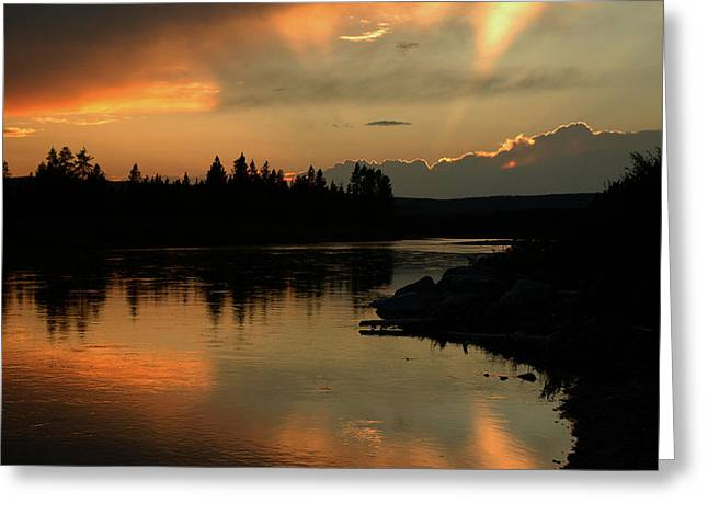 Gloaming Greeting Cards - Wyoming Sunset Greeting Card by Sharon Goldsboro