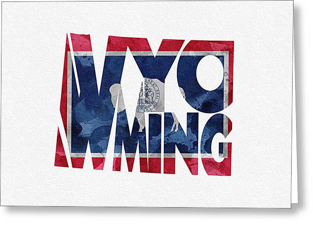 Mother Gift Greeting Cards - Wyoming Typographic Map Flag Greeting Card by Ayse Deniz