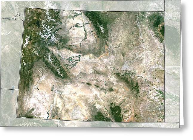 Relief Map Greeting Cards - Wyoming, USA, satellite image Greeting Card by Science Photo Library