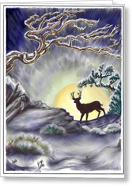Snow Drifts Digital Art Greeting Cards - Wyoming Winter Moonrise Greeting Card by Dawn Senior-Trask
