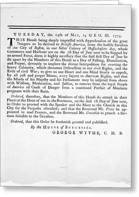 Siege Of Boston Greeting Cards - Wythe: Broadside, 1774 Greeting Card by Granger