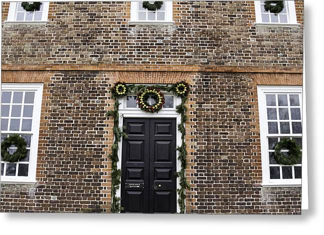 1752 Greeting Cards - Wythe House Squared Greeting Card by Teresa Mucha