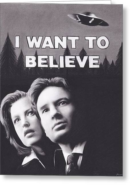 Alien Drawings Greeting Cards - X Files I Want to Believe Greeting Card by Brittni DeWeese