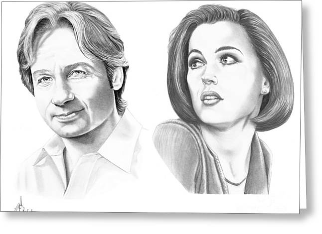 Famous Faces Drawings Greeting Cards - X-Files  Greeting Card by Murphy Elliott