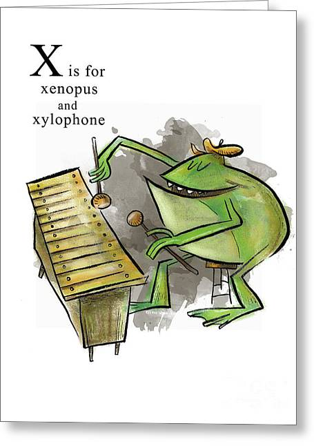 Xylophone Greeting Cards - X is for Xenopus Greeting Card by Sean Hagan