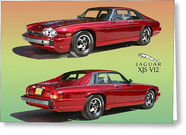 Print On Acrylic Greeting Cards - 1986 X J S JAGUAR coming and goingf Greeting Card by Jack Pumphrey