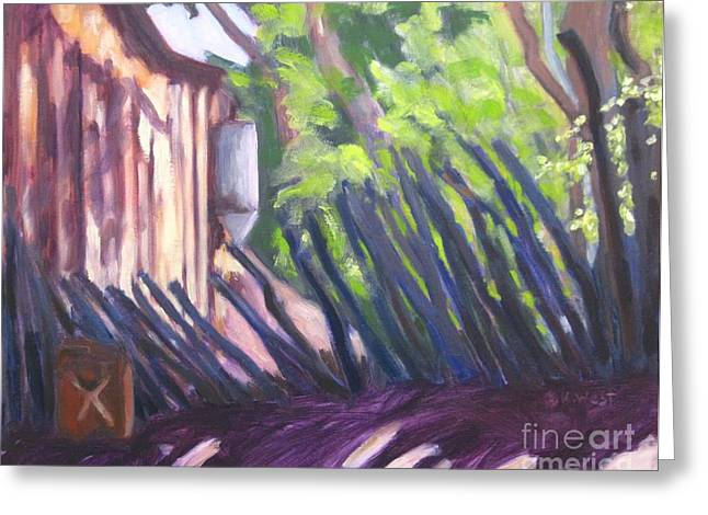 Outbuildings Paintings Greeting Cards - X Marks the Spot Greeting Card by Katrina West