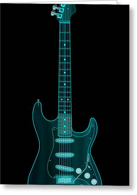 Rock Digital Art Greeting Cards - X-Ray Electric Guitar Greeting Card by Michael Tompsett