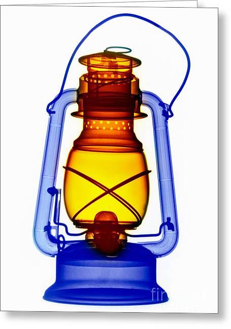 Oil Lamp Photographs Greeting Cards - X-ray Of A Kerosene Lantern Greeting Card by Scott Camazine
