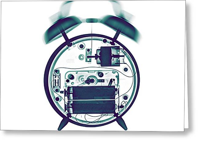 X-ray Of A Mechanical Alarm Clock Greeting Card by Photostock-israel