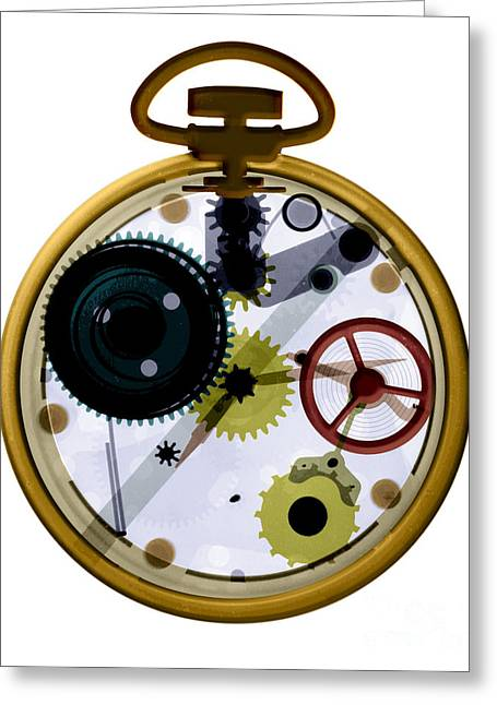 Mechanism Greeting Cards - X-ray Of A Pocket Watch Greeting Card by Bert Myers