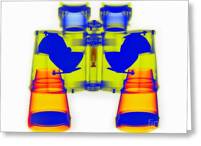 Color Enhanced Greeting Cards - X-ray Of Binoculars Greeting Card by Scott Camazine