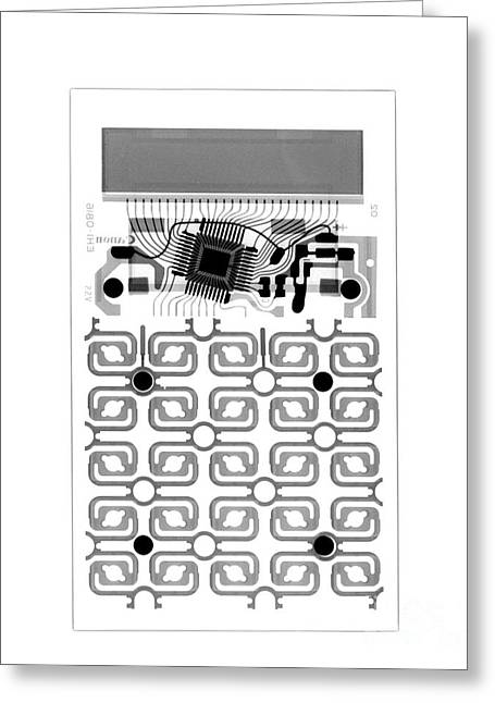 Radiograph Greeting Cards - X-ray Of Calculator Greeting Card by Bert Myers