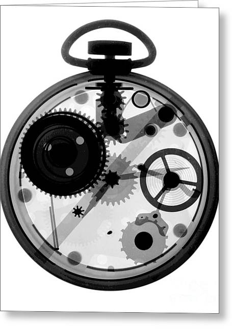 Mechanism Photographs Greeting Cards - X-ray Of Pocket Watch Greeting Card by Bert Myers