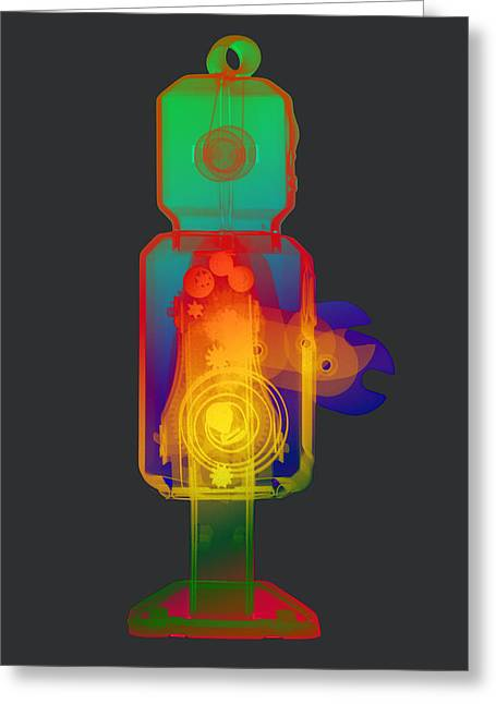 Giant Robot Greeting Cards - X-ray Robot RS No.1 Greeting Card by Roy Livingston