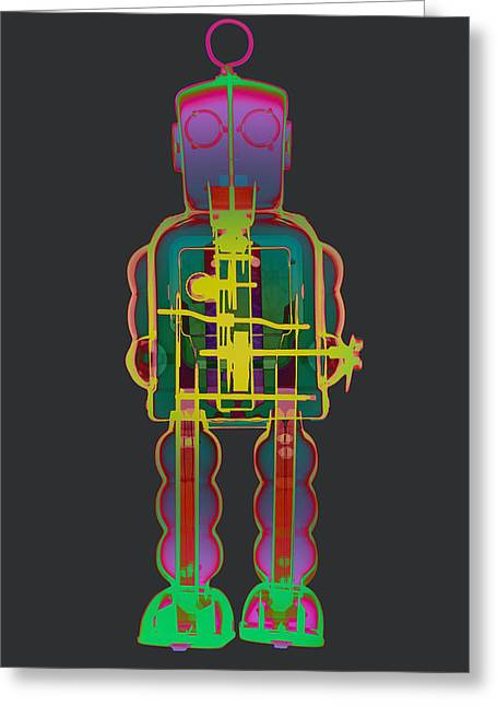 Giant Robot Greeting Cards - X-ray Robot With Gogs No.1 Greeting Card by Roy Livingston