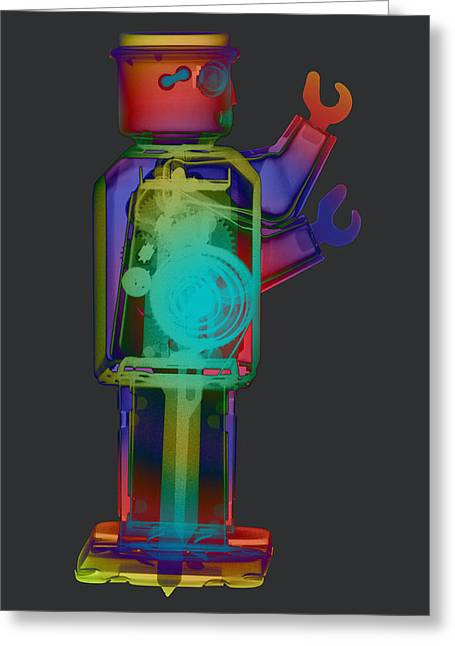 Giant Robot Greeting Cards - X-ray Robot With Hat No.1 Greeting Card by Roy Livingston
