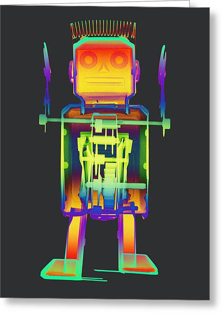 Giant Robot Greeting Cards - X-ray Robot with Spring No.1 Greeting Card by Roy Livingston