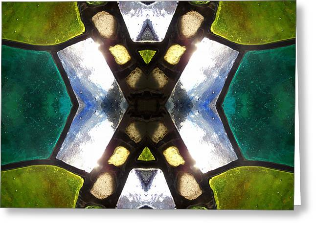 Abstract Digital Glass Greeting Cards - X stained glass Greeting Card by Ha Imako