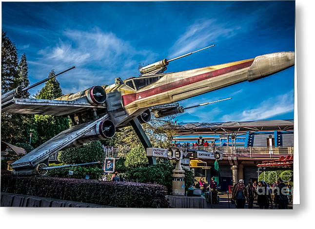 Xwing Greeting Cards - X-Wing Starfighter at Disneyland Paris Greeting Card by Rui Marques