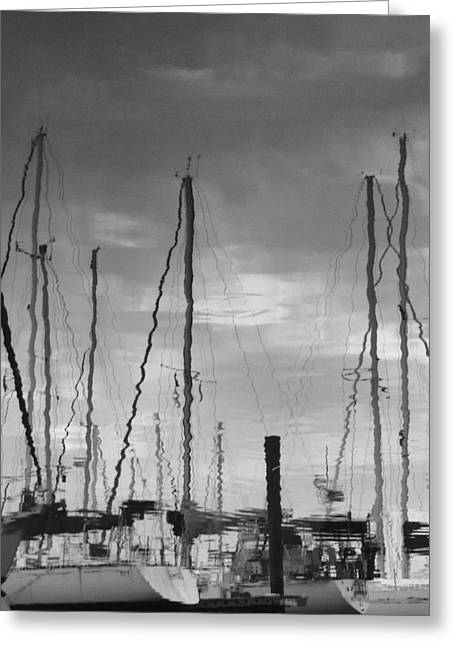 Sailboat Art Mixed Media Greeting Cards - X2 Reflections Greeting Card by Gustave Kurz