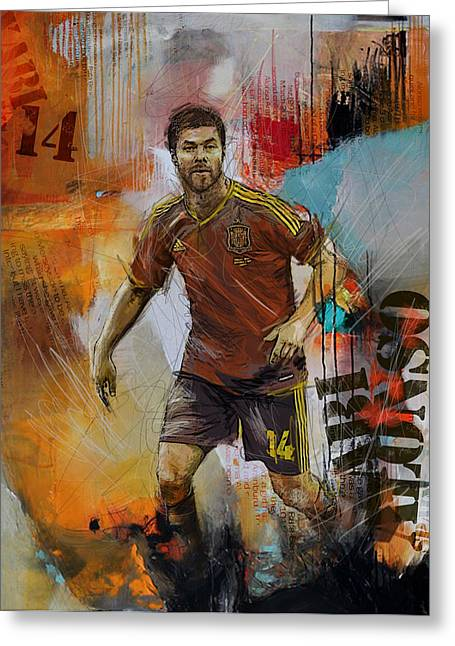 Qatar Greeting Cards - Xabi Alonso Greeting Card by Corporate Art Task Force