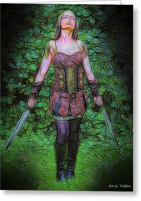 Dungeons Greeting Cards - Xena Warrior Princess Greeting Card by Jon Volden