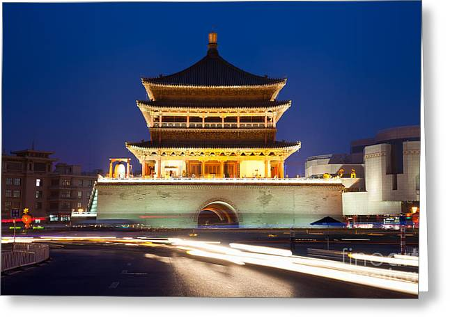 Shaanxi Province Greeting Cards - XiAn Bell tower China Greeting Card by Fototrav Print
