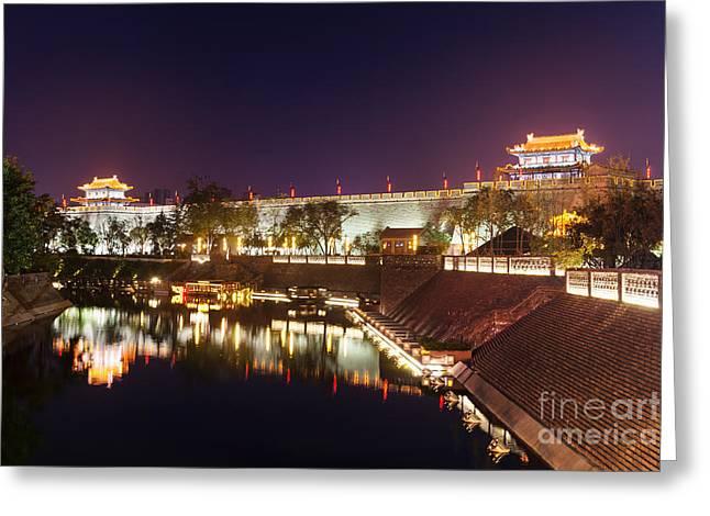Xian Greeting Cards - Xian nighttime city wall scenery Greeting Card by Oleksiy Maksymenko