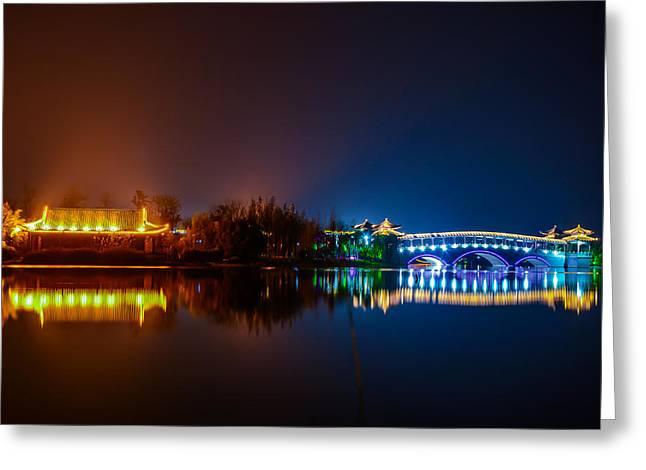 City Lights Greeting Cards - Xiao Nan Hu Bridge Greeting Card by N D Finer