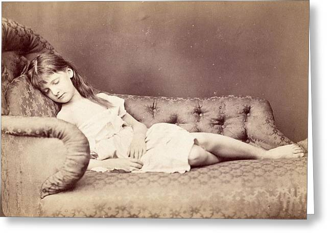 Victorian Costume Greeting Cards - Xie Sleeping, 1874 Greeting Card by Lewis Carroll